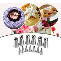 13pcs/Set Russian Nozzle Pastry Piping Tips Set Stainless Steel Baking Tool