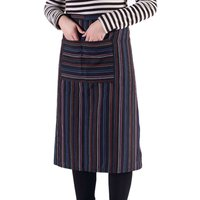 1 Pocket Stripe Bib Apron Long Sleeve Cuff Waterproof Aprons Cooking Baking Dress Kitchen Accessories